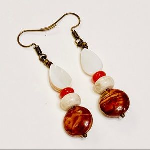 Rustic Picasso Jasper Carnelian MOP Earrings